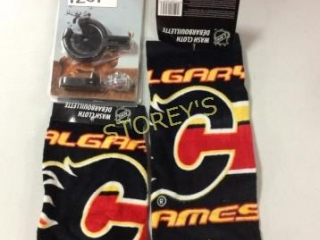 3 pc - 2 Calgary Flames Wash Clothes & Whisker