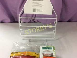 3 pc - Shower Caddy, 12 Snap Lids & Shop Vac Dry