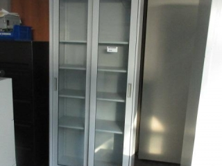 Glass Two Door Storage Cabinet, approximate 36