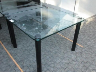 Glass Table, black metal base, approximate 42