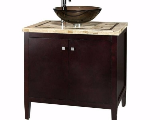 Home Decorators Collection Argonne 31 in. W x 22 in. D Bath Vanity in Espresso with Marble Vanity Top in Brown with Glass Basin not used