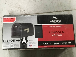 Gibraltar Mailboxes Lincoln Decorative Plastic Post-Mount Mailbox, Black  in like new condition