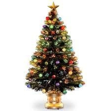 National Tree Company 4 ft. Fiber Optic Fireworks Artificial Christmas Tree with Ball Ornaments  in like new condition