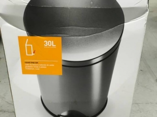 simplehuman 30-Liter Fingerprint-Proof Brushed Stainless Steel Round Step-On Trash Can Please see photos damage