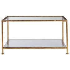 Home Decorators Collection Bella Aged Gold Square Glass Coffee Table  in like new condition