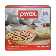 Pyrex 3-Pack Easy Grab Glass Pie Plate new