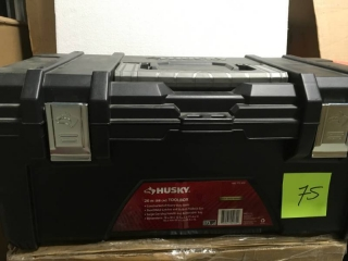 Husky 26 in. Plastic Tool Box with Metal Latches in Black  in like new condition