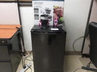 Black Office Refrigerator and Farberware
