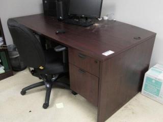 Single Pedestal Curved Front Desk