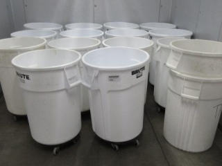 (14) Brute White Trash Cans. Some Have