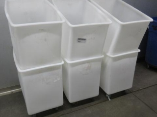 (6) Plastic White Tubs, Some Have