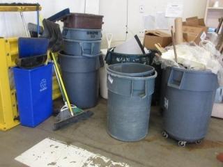 Trash Cans, Brooms, Mop Buckets