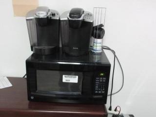 Ge Microwave 2 Keurig Coffee Makers, Located in