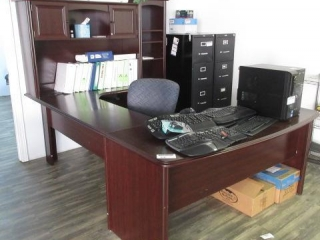 Desk, Work Surface, Hutch, 2 Lateral Files, 5