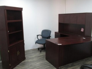 Curved Front Desk, Hutch, Bookcase, 5 Star Chair,