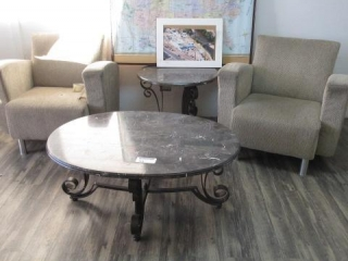 Coffee Table, End Table, 2 Chairs, Located in