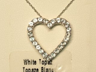 Sterling Silver White Topaz Pendant With Chain