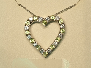 Sterling Silver Peridot Pendant With Chain