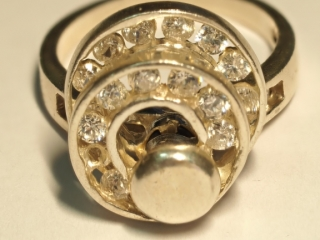 $180 Sterling Silver CZ Spinning Ring