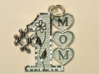 "Sterling Silver ""#1 MOM"" Pendant"