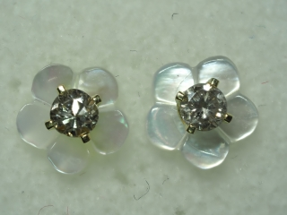 $890 14K Diamond Earrings With Mother of Pearl Jac