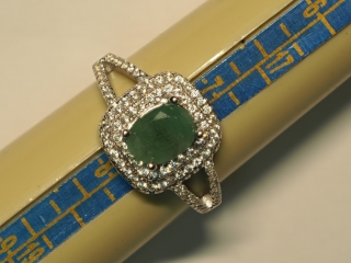 $180 Sterling Silver Emerald & CZ Ring