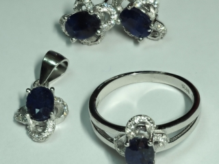 $400 S/Silver Sapphire Ring Earring Pendant Set