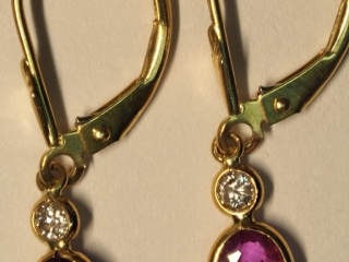 $2400 14K Sapphire & Diamond Earrings
