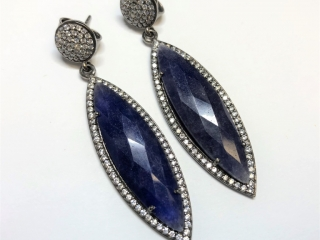 $799 S/Sil Sodalite Cubic Crystals Earrings