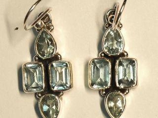 $240 Sterling Silver Blue Topaz Earrings