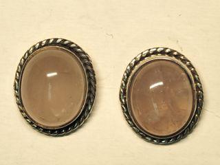 $200 Sterling Silver Rose Quartz Earrings