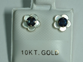 $160 10K Sapphire & Mother of Pearl 2-in-1 Earring