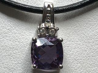 $531 S/Sil Amethyst 2 Diamonds, I, I Pendant