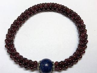 $300   Garnet Lapis Lazuli Stretchable Bracelet