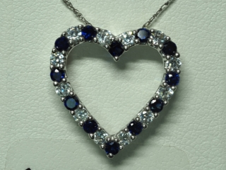 SterlingSilver Created Sapphire Pendant With Chain