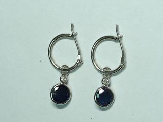 $2101 14K Sapphire & Diamond Earrings
