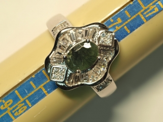 $260 Sterling Silver Emerald & CZ Ring (4.59g)