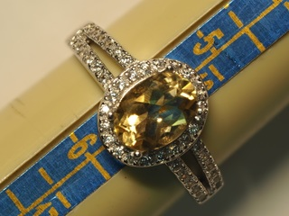 $100 Sterling Silver Citrine & CZ Ring