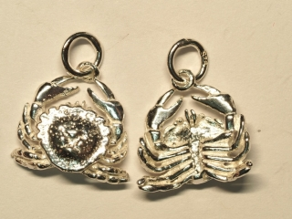 $100 Set of 2 Sterling Silver Crab Pendants
