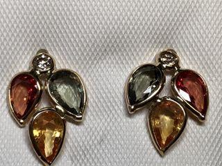 $3122 14K Fancy Sapphire  Diamond Earrings
