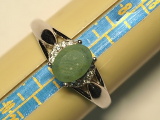 $140 Sterling Silver Emerald & CZ Ring