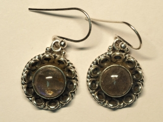 $250 Sterling Silver Labradorite Earrings app 6.3g