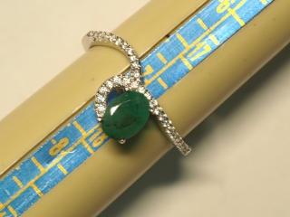 $120 Sterling Silver Emerald & CZ Ring