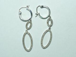 $700 Sterling Silver Diamond Drop Earrings