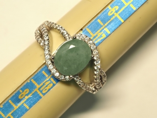 $240 Sterling Silver Emerald & CZ Ring (app 4g)