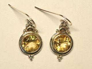 $220 Sterling Silver Citrine Earrings (app 5.5g)