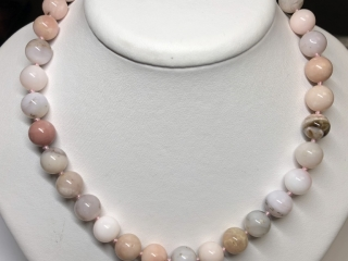 $850 S/Sil Pinkish Opal Bead Necklace