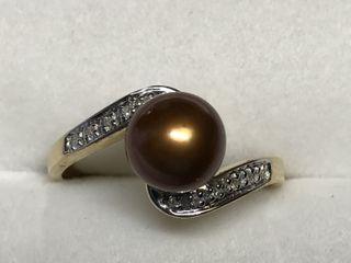 $788 14K Fw Pearl  Diamond Ring