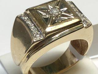$4509 10K  Diamond 8.88Gm Men'S Ring