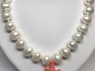 $1350 S/Sil Poly Coral Fw Pearl Necklace